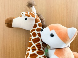 Giraffe and baby fox soft toy and plush animal doll on wood background for kids
