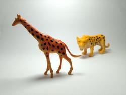Giraffe and Cheetah - Miniature Plastic Toy Animals