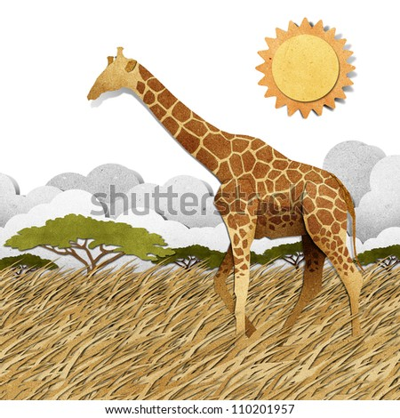 Giraffe made from recycled paper background