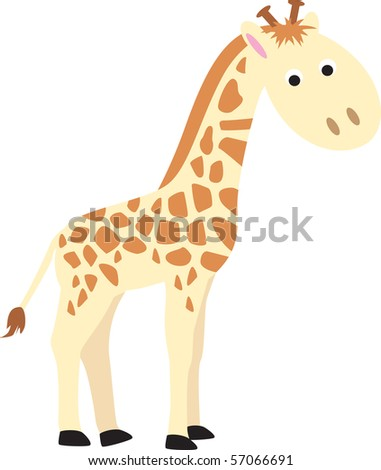 Giraffe Modern Colour Cartoon Character On White Background Stock ...