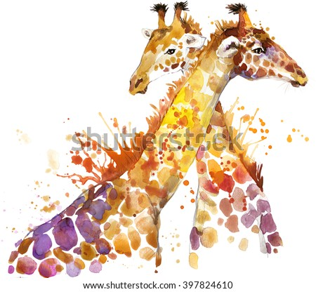 Giraffe watercolor illustration with splash textured background.