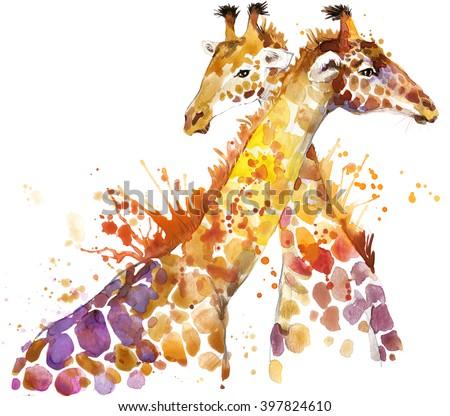 Giraffe watercolor illustration with splash textured background.