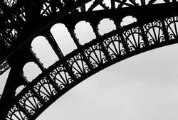 Girders of the Eiffel Tower in Paris France