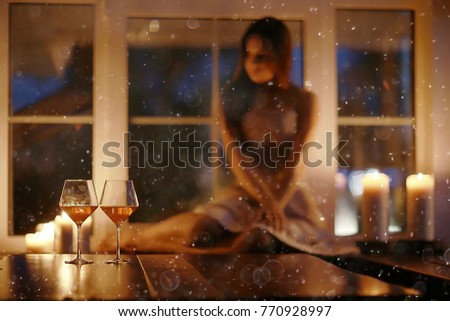 Girl adult evening candles romance holiday christmas home portrait #770928997
