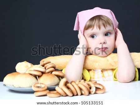 girl and bakery products