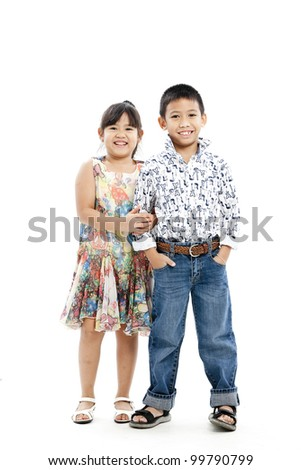girl and boy - stock photo