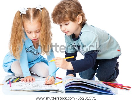 Girl and boy are painting. Isolated on white background