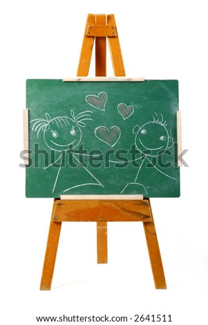 girl and boy in love drawing on chalk board
