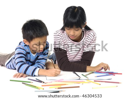 Girl and boy learning on white