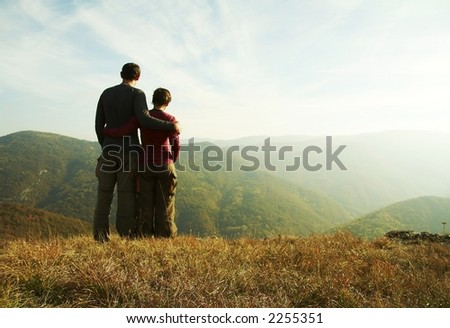 Girl and boy overview landscape