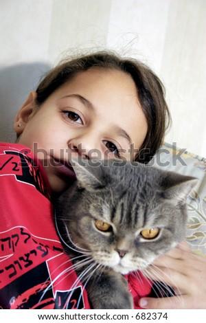 Girl and British cat