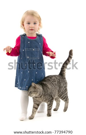 Girl and cat, on white background.