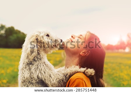 girl and dog #285751448