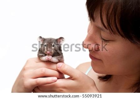 girl and hamster - stock photo