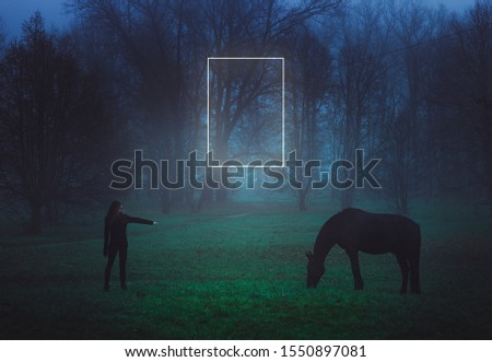Girl and horse. Black Horse. Paranormal world. Neon portal. Retro style. Retrowave. Strange forest in a fog. Mystical atmosphere. Dark wood. Mysterious road. Gothic witch. Background wallpaper