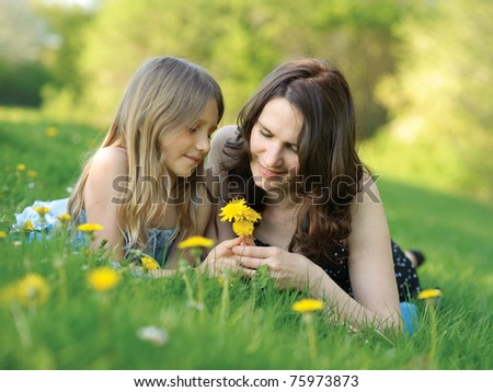 Girl and mother in the park