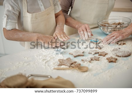 Girl and old woman making shape of cookies - Shutterstock ID 737099899