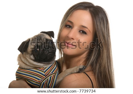 Girl and pug, isolated on white background