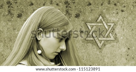 Girl and Star of David. Allegory of the Memory of Holocaust