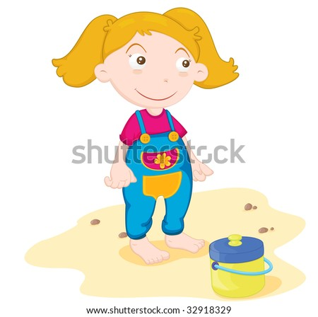 girl at beach (vector illustration available in portfolio)