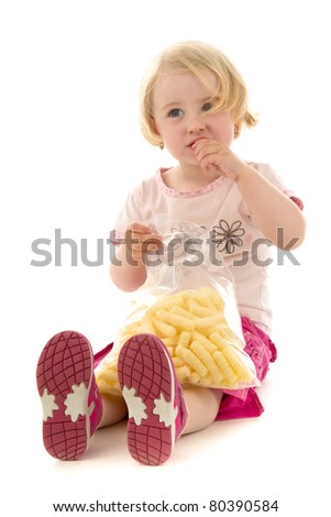 Girl at food,on white background.
