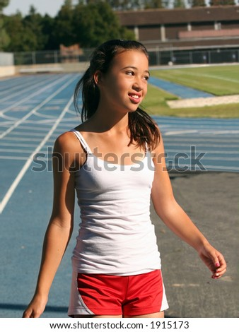 Girl at school stadium