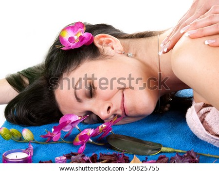 Girl2 at spa isolated