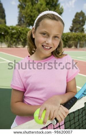 Girl at Tennis Net