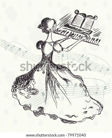 Girl at the piano vintage card