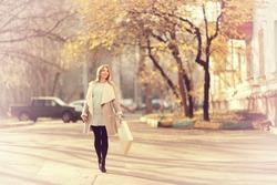 Girl autumn walk through Moscow
