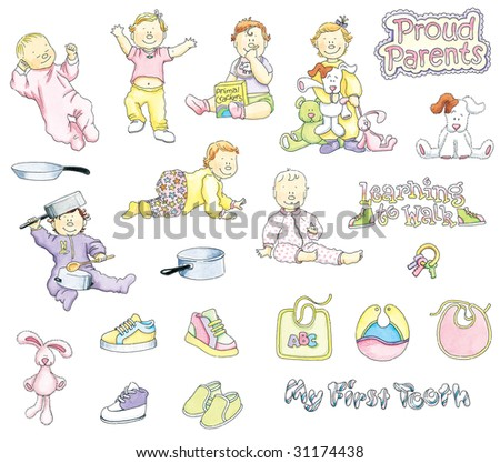 Girl Babies Illustrations