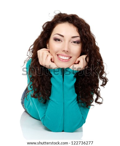 girl beauty, young beautiful cheerful woman looking at camera and smiling over white background - stock photo