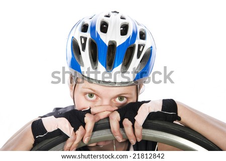 girl biker with tire