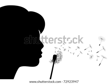 Girl blows to a dandelion, illustration