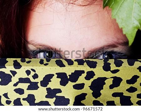 Girl Blue Eyes Hidden by Green Veil