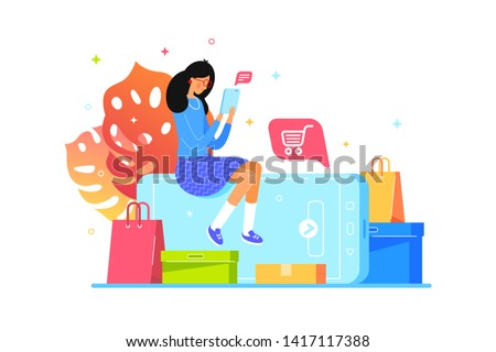 Girl buys online with smartphone. Web shopping, illustration flat