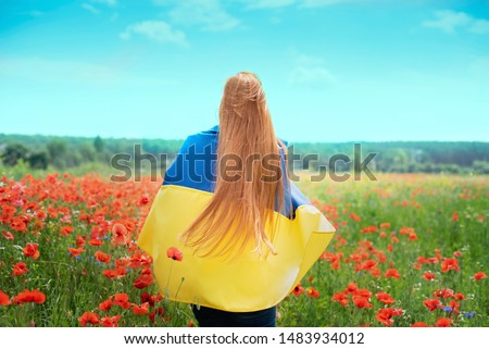 Girl carries fluttering blue and yellow flag of Ukraine in field. Ukraine's Independence Flag Day. Constitution day. Woman in traditional embroidery with flag of Ukraine. 24 August. Patriotic holiday.