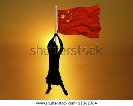 girl carrying flag of China