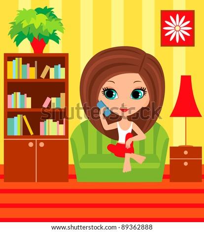 Girl cartoon speaks on the phone. Raster illustration - stock photo
