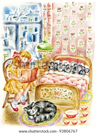 Girl, cat and little mouses. Watercolors/pastel cartoon illustration. Girl, reading a book to the little mouses before they fall asleep in bed. Cheerful cat is sleeping near on a carpet. - stock photo