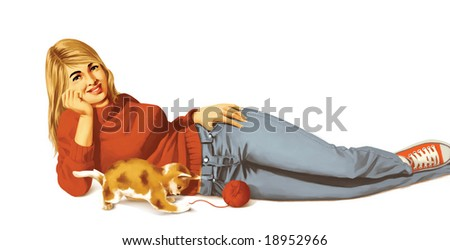 girl, cat and wool