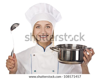 Girl cook with pot in hands. Studio white background