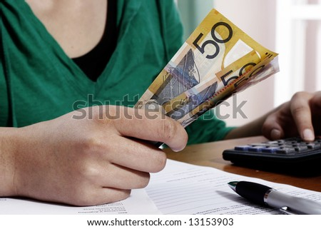 Girl counting money