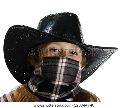 Girl cowboy with a bandage on his face in a black hat on a white background.
