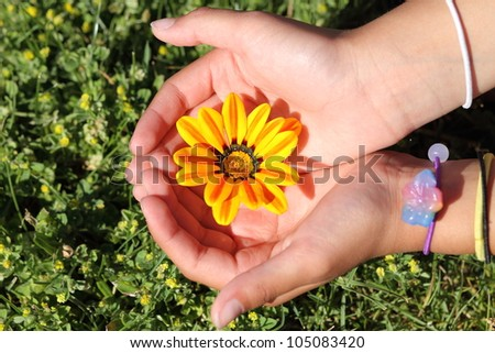 Girl cradling recently bloomed intensely bright yellow flower