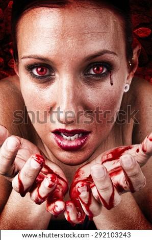Girl crying bloody tears