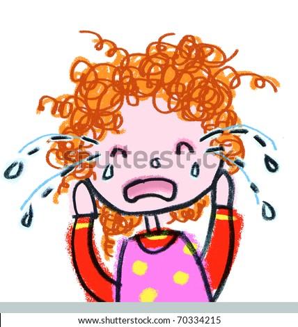 Girl Crying-- child-like illustration