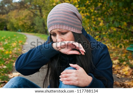 girl crying in depression and frustration