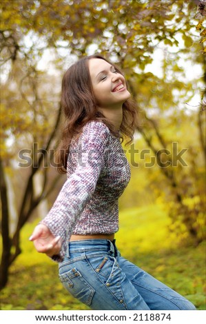 girl dancing in the forest