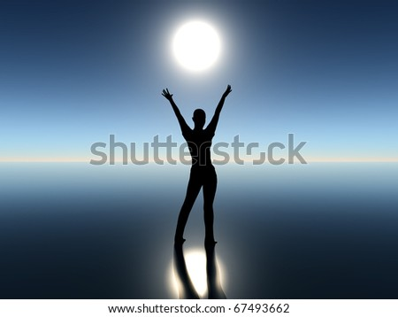 Girl dancing with rising moon as digital composition as a symbol for freedom an democracy